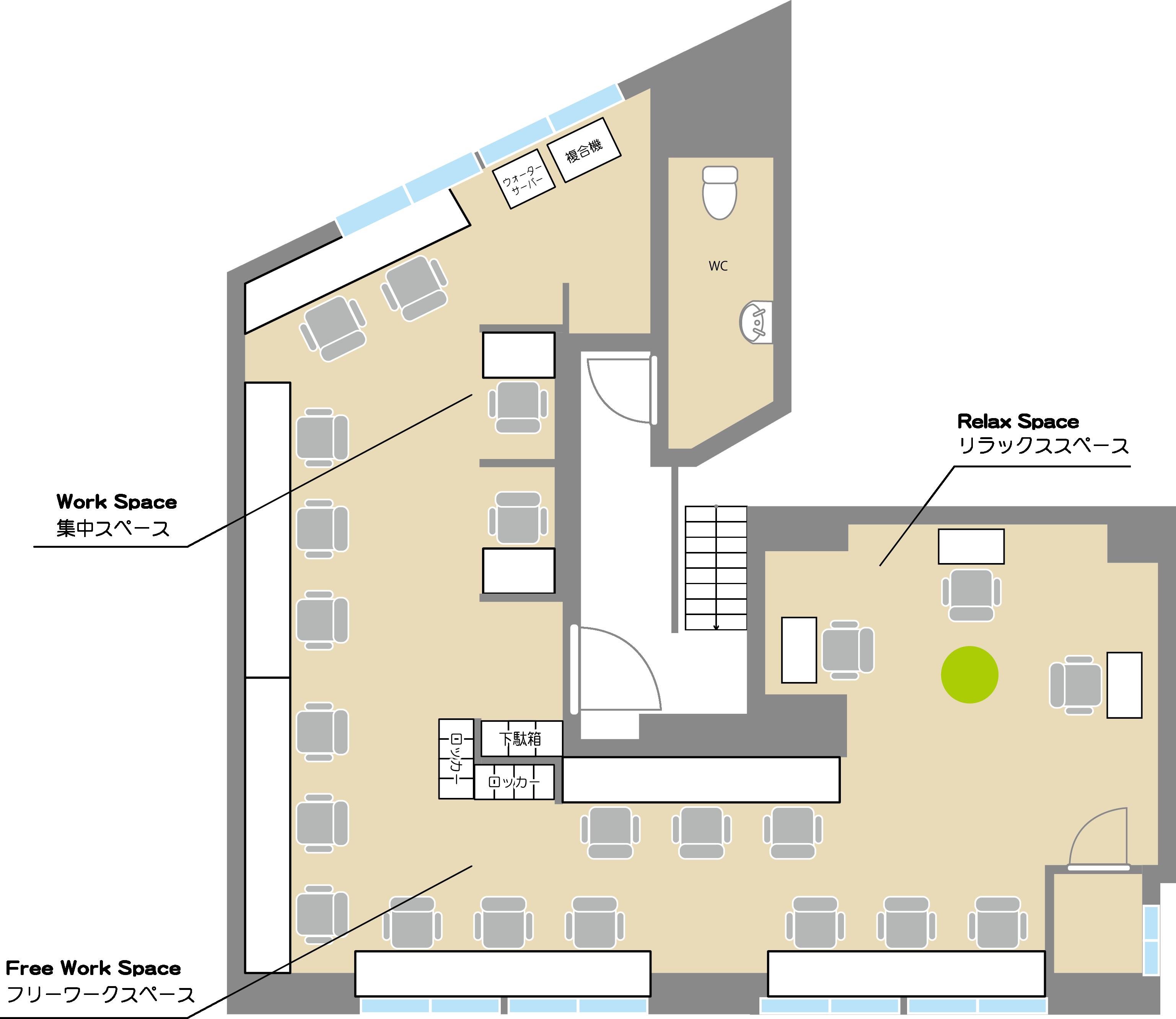 COffice本郷のフロアマップ