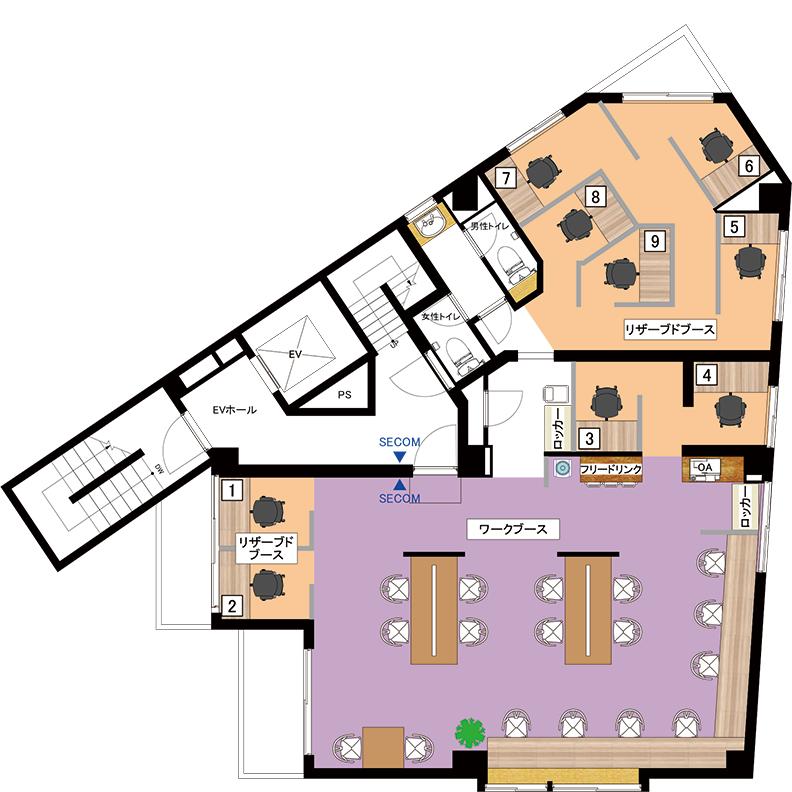 COffice中板橋のフロアマップ