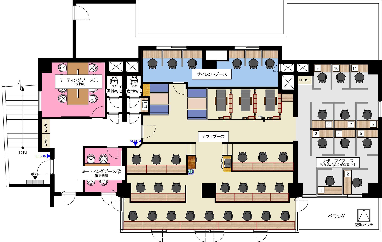 COffice五反田のフロアマップ