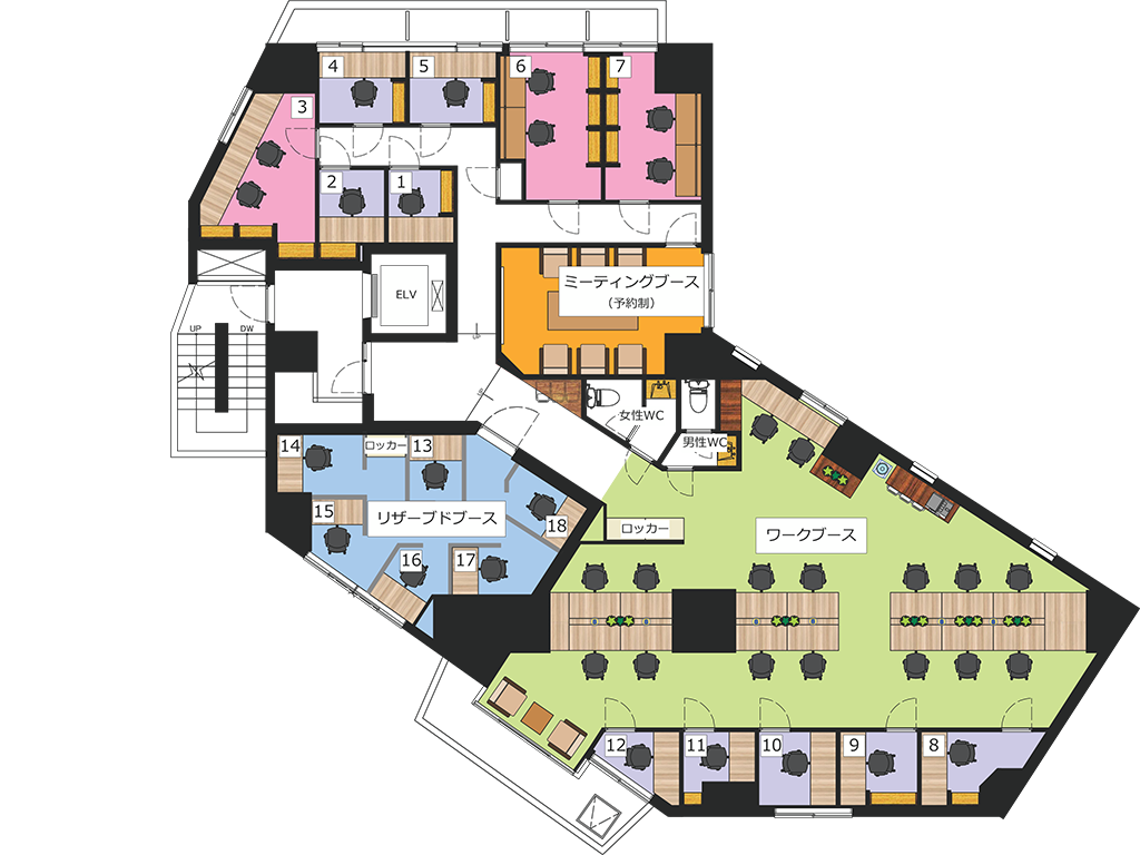 COffice東池袋のフロアマップ